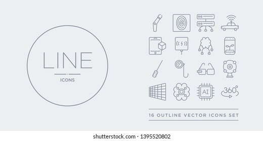 16 line vector icons set such as 360 degrees, ai, ai brain, ai grid, ar camera contains ar glasses, ar monocle, wand, artificial atmosphere. 360 degrees, brain from artificial intelligence, outline