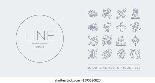 16 line vector icons set such as moon, moon phases, nebula, neptune, orbit contains planetarium, planets, pluto, pulsar. moon, phases, nebula from astronomy outline icons. thin, stroke elements