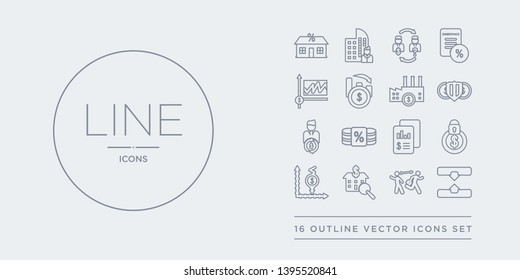 16 line vector icons set such as horizontal merger, hostile takeover, house price surveys, hyperinflation, income protection insurance contains income statement, income tax, independent financial