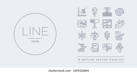 16 line vector icons set such as dividend yield, dow jones industrial average, ebit, ebitda, earnings per share (eps) contains economic growth, economies of scale, elasticity, endowment policy.