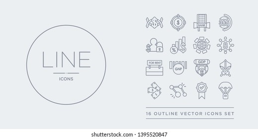 16 line vector icons set such as golden parachute, golden rule, golden share, back, grey knight contains gross domestic product (gdp), gross national product (gnp), ground rent, group of eight (g8).