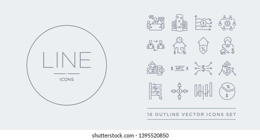 16 line vector icons set such as margin, median, merger, microeconomics, minimum wage contains monetarism, monetary policy committee, money supply, mortgage broker. margin, median, merger from
