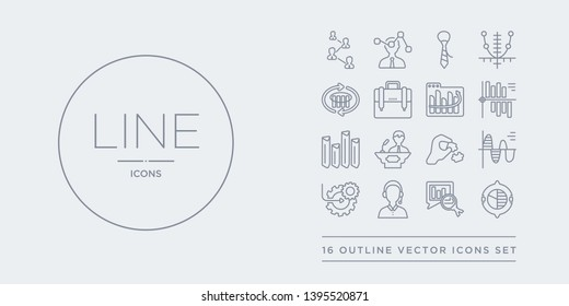 16 line vector icons set such as round value chart, search analytics, service, setting flow interface, sine waves analysis contains solution, speech, statistics, stock data analysis. round value