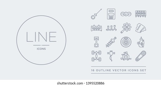 16 line vector icons set such as car camshaft, car carburettor, car catalytic converter, chassis, choke contains clutch, coil, connecting rod, cowl. camshaft, carburettor, catalytic converter from