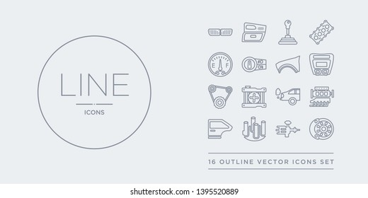 16 line vector icons set such as car disc brake, car distributor, car distributor cap, door, engine contains exhaust, fan, fan belt, fascia (british). disc brake, distributor, cap from parts outline