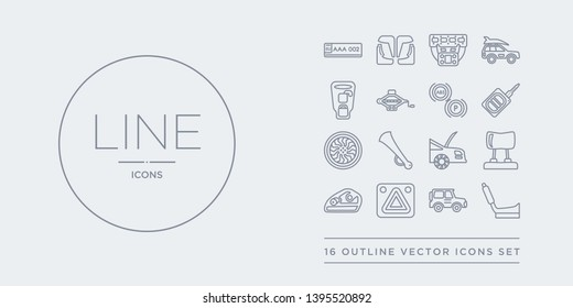 16 line vector icons set such as car handbrake, car hard top, car hazard lights, headlight, headrest contains hood, horn, hubcap, ignition. handbrake, hard top, hazard lights from parts outline