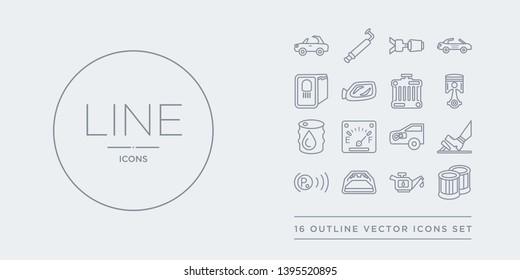 16 line vector icons set such as car oil filter, car oil pump, car parcel shelf, parking light, pedal contains petrol cap, petrol gauge, petrol tank, piston. oil filter, pump, parcel shelf from