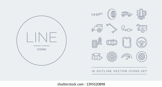 16 line vector icons set such as car spare wheel, car speedometer, car sprocket, starter, steering wheel contains sump, sunroof or sunshine roof, suspension, tailgate. spare wheel, speedometer,