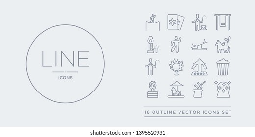 16 line vector icons set such as magic ball, magic hat, merry go round, mime, pop corn contains ride, ring of fire, ringmaster, rodeo. magic ball, hat, merry go round from circus outline icons.
