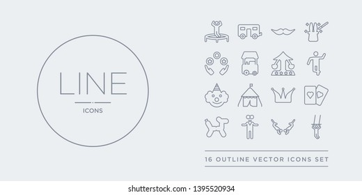 16 line vector icons set such as trapeze, trapeze artist, two headed man, balloon dog, cards contains circus, circus tent, clown, dancer. trapeze, artist, two headed man from circus outline icons.