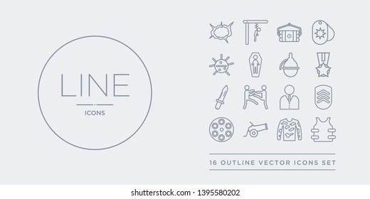 16 line vector icons set such as bulletproof, bulletproof vest, camouflage military clothing, cannon, chamber contains chevrons, civilian, combat, combat knife. bulletproof, vest, camouflage
