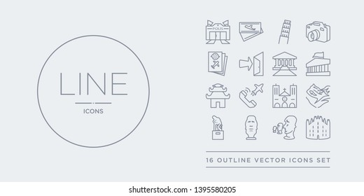 16 line vector icons set such as milan, moai, moais, monument, mountain contains notre dame, outbound, pagoda, pantheon. milan, moai, moais from architecture and travel outline icons. thin, stroke
