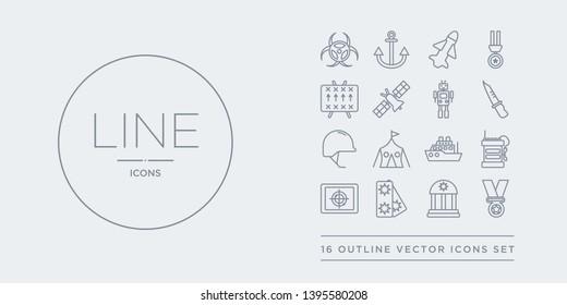 16 line vector icons set such as lieutenant, medal, militar antique building, militar in, militar radar contains radio, ship, tent, military helmet. lieutenant, medal, antique building from army
