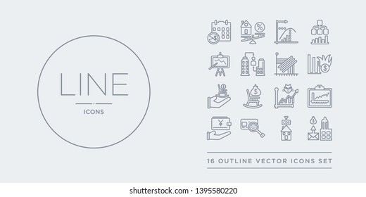 16 line vector icons set such as cit crunch, cit default swaps, cit reference agency, current account, day trading contains dead cat bounce, defined benefit pension, defined contribution pension,