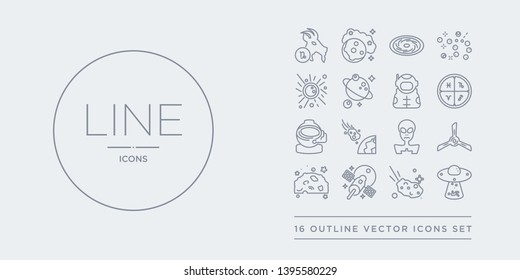 16 line vector icons set such as abduction, aerolite, aerospace, aerosphere, airscrew contains alien, asteroid, astranaut helmet, astrology. abduction, aerolite, aerospace from astronomy outline