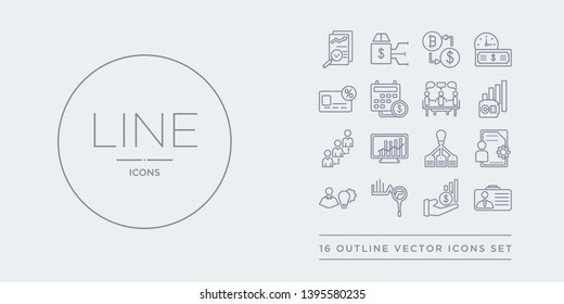 16 line vector icons set such as business accounts, actively managed funds, actuary, administration, after-hours dealing contains allocation rate, alternative investment market, annual bonus, annual