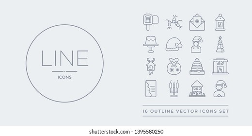 16 line vector icons set such as christmas boy, christmas cabin, christmas candelabra, card, chimney contains chocolate, bag, clock, day. boy, cabin, candelabra from outline icons. thin, stroke