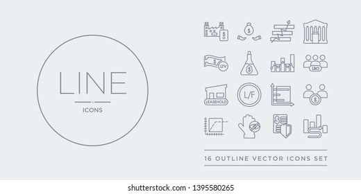 16 line vector icons set such as interim, investment trust, invisible hand, irrational exuberance, joint account contains keynesian economics, laissez-faire, leasehold, leveraged buyout. interim,