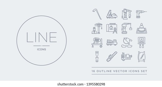 16 line vector icons set such as cement, cement mixers, chainsaw, chisel, circuit breaker contains circular saw, concrete, concrete mixer, cone. cement, mixers, chainsaw from construction outline