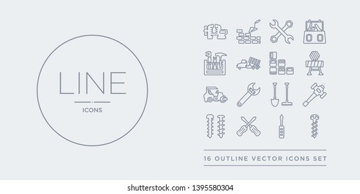 16 line vector icons set such as screw, screwdriver, screwdrivers, screws, sledge hammer contains spade tool, spanner, steamroller, stopping. screw, screwdriver, screwdrivers from construction