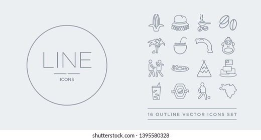16 line vector icons set such as brazil map, brazil soccer player, brazil team shield, caipirinha drink glass of cake with a flag contains calumet, cantonese fish, capoeira dancers, chimp face of