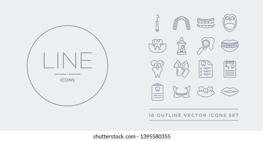 16 line vector icons set such as lips, malocclusion, maxilla, medical appointment, medical prescription contains medical record, mint gum, molar crown, mouth. lips, malocclusion, maxilla from
