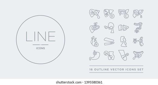 16 line vector icons set such as gastroenteritis, genital herpes, genital herpes (herpes simplex virus), gerd, giardiasis contains goitre, gonorrhea, heart disease, hemorrhoid. gastroenteritis,