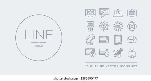 16 line vector icons set such as coworking, creative pencil rocket, cit history, cit limit, cit rating contains report, risk, score, crypto-exchange. coworking, creative pencil rocket, history from