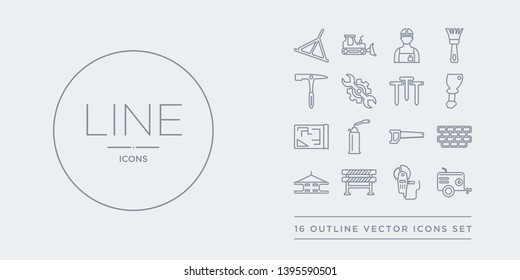 16 line vector icons set such as air compressor, angle grinder, barrier, beam, birck wall contains blade saw, blowtorch, print, bolster. air compressor, angle grinder, barrier from construction