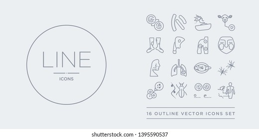 16 line vector icons set such as leptospirosis, leukemia, lice, limbtoosa, listeriosis contains loiasis, lung cancer, lupus, lupus erythematosus. leptospirosis, leukemia, lice from diseases outline