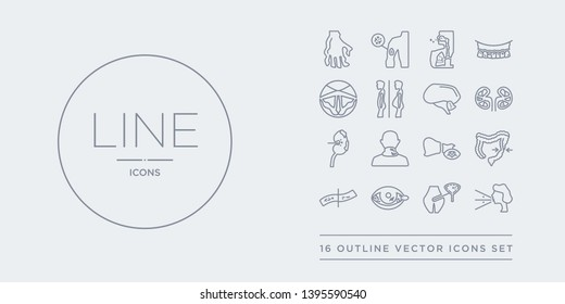 16 line vector icons set such as influenza, interstitial cystitis, iritis, iron-deficiency anemia, irritable bowel syndrome contains jaundice, keloids, kidney disease (chronic kidney disease),