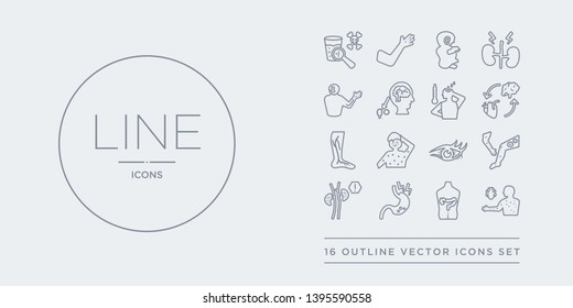 16 line vector icons set such as typhus, ulcerative colitis, ulcers, uremia, urticaria contains uveitis, varicella, varicose veins, vasovagal syncope. typhus, ulcerative colitis, ulcers from