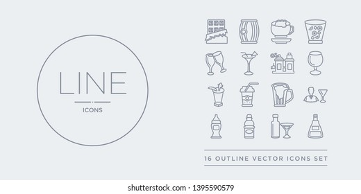 16 line vector icons set such as absinthe, alcoholic drink, apple juice, baby bottle, bartender contains beer mug, beverage, bloody mary, brandy glass. absinthe, alcoholic drink, apple juice from