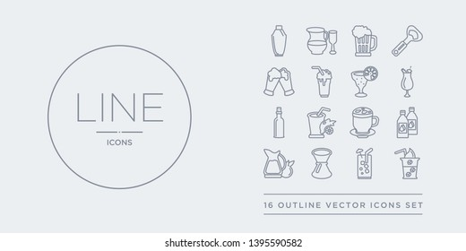 16 line vector icons set such as ice coffee, ice tea, jigger, jug, juice bottle contains latte, lemon juice, liquor, mai thai. ice coffee, tea, jigger from drinks outline icons. thin, stroke