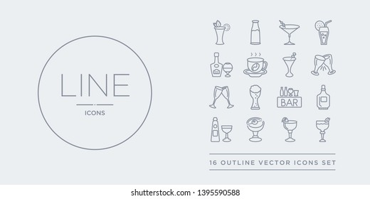 16 line vector icons set such as daiquiri, french 75, manhattan drink, sidecar drink, alcohol contains bar, beer, champagne, cheers. daiquiri, french 75, manhattan drink from drinks outline icons.