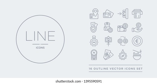 16 line vector icons set such as decrease, discount, dollar bill, ecommerce, euro contains exchange rate, financial presentation, free, get money. decrease, discount, dollar bill from payment