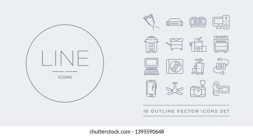 16 line vector icons set such as camcorder, camera, ceiling fan, cell phone, charger contains cold-pressed juicer, compact disc, computer, convection oven. camcorder, camera, ceiling fan from