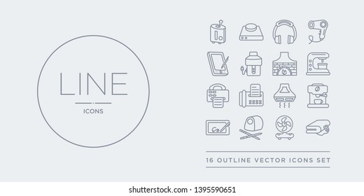 16 line vector icons set such as electric blanket, electric fan, electric pencil sharpener, electronic, espresso maker contains exhaust hood, fax, fax machine, food processor. blanket, fan, pencil