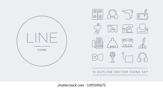 16 line vector icons set such as earphones, electric blanket, electric fan, electric pencil sharpener, electronic contains espresso maker, exhaust hood, fax, fax machine. earphones, blanket, fan