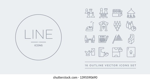 16 line vector icons set such as ace of spades, air hockey, arcade, arcade game, arcade machine contains billiards, bingo, board games, bowling. ace of spades, air hockey, from outline icons. thin,