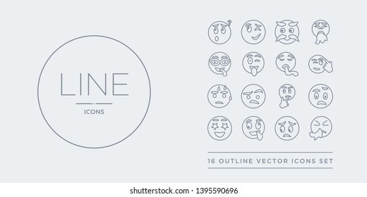 16 line vector icons set such as sneezing emoji, stress emoji, stupid emoji, surprise surprised contains suspect suspicious sweating thinking sneezing stress stupid from outline icons. thin, stroke