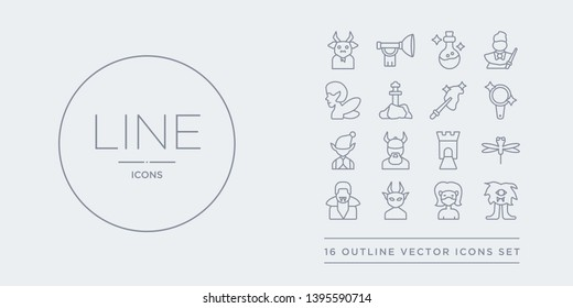 16 line vector icons set such as cyclops, damsel, devil, dracula, dragonfly contains drawbridge, dwarf, elf, enchanted mirror. cyclops, damsel, devil from fairy tale outline icons. thin, stroke
