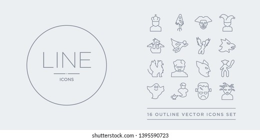 16 line vector icons set such as female medusa, frankenstein, genie, ghost, giant contains goblin, golem, griffin, gryphon. female medusa, frankenstein, genie from fairy tale outline icons. thin,