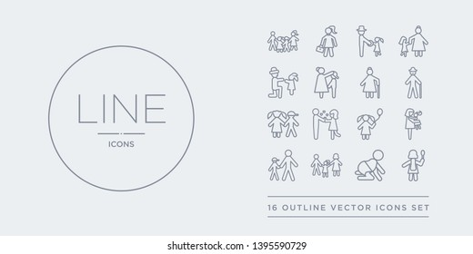 16 line vector icons set such as wife, aunt's or uncle's child, parent, son, daughter contains child, spouse, sibling, grandfather. wife, aunt's or uncle's child, parent from family relations