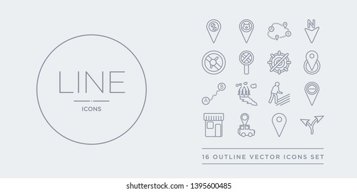 16 line vector icons set such as map layer, map pin, map transports, marked place, minus location contains motion, national park pin, navigation trajectory, nearby. layer, pin, transports from maps