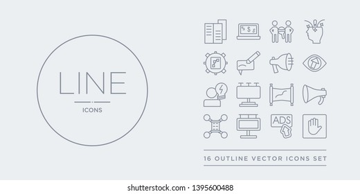 16 line vector icons set such as ad blocker, ads, advertisement, affiliate, announcer contains banner, billboard, brainstorming, business eye. ad blocker, ads, advertisement from marketing outline
