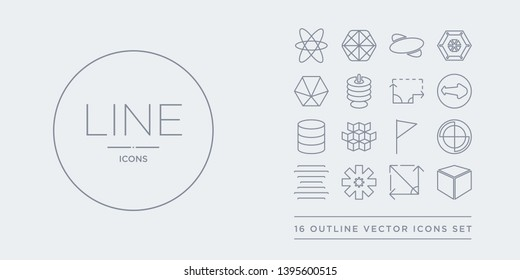 16 line vector icons set such as 3d cube, angle, asterisk, center alignment, circle contains corner, cubes, cylinder, diameter. 3d cube, angle, asterisk from geometry outline icons. thin, stroke