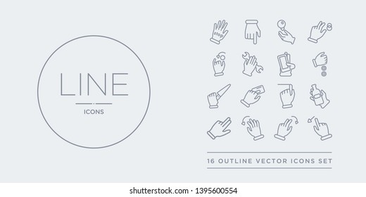 16 line vector icons set such as flick left gesture, flick right gesture, flick to left gesture, up hand and a bottle contains hand and chalk, hand and cit card, knife, money. left right to from