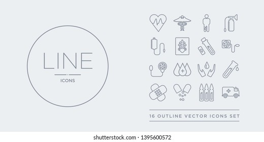 16 line vector icons set such as ambulance, ampoule, antibiotics, band aid, blood contains blood donation, blood drop, pressure, pressure gauge. ambulance, ampoule, antibiotics from health and