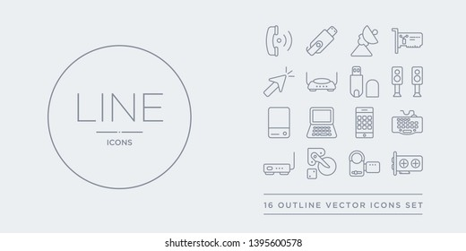 16 line vector icons set such as gpu, handy cam, harddrive, hardware hotspot, keyboard wire contains keypad phone, laptop screen, local disk, loudspeakers. gpu, handy cam, harddrive from hardware